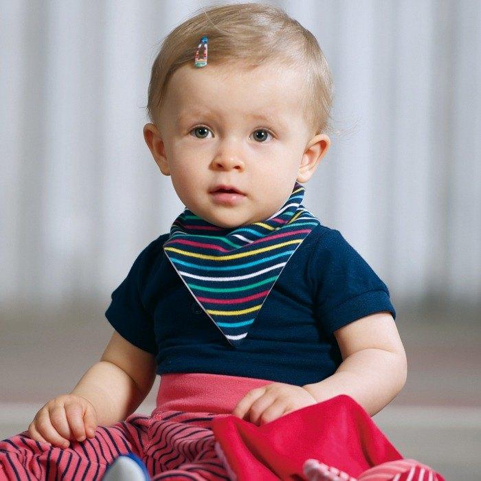 【北歐童裝】瑞典嬰幼兒有機棉圍兜口水領巾彌月禮 彩色條紋