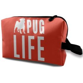 白い犬 英字 化粧ポーチ 携帯用 化粧ポーチ 大容量 軽い 旅行ポーチ 洗面用具入れ 化粧ポーチ 収納 ハンドバッグ 財布 防水