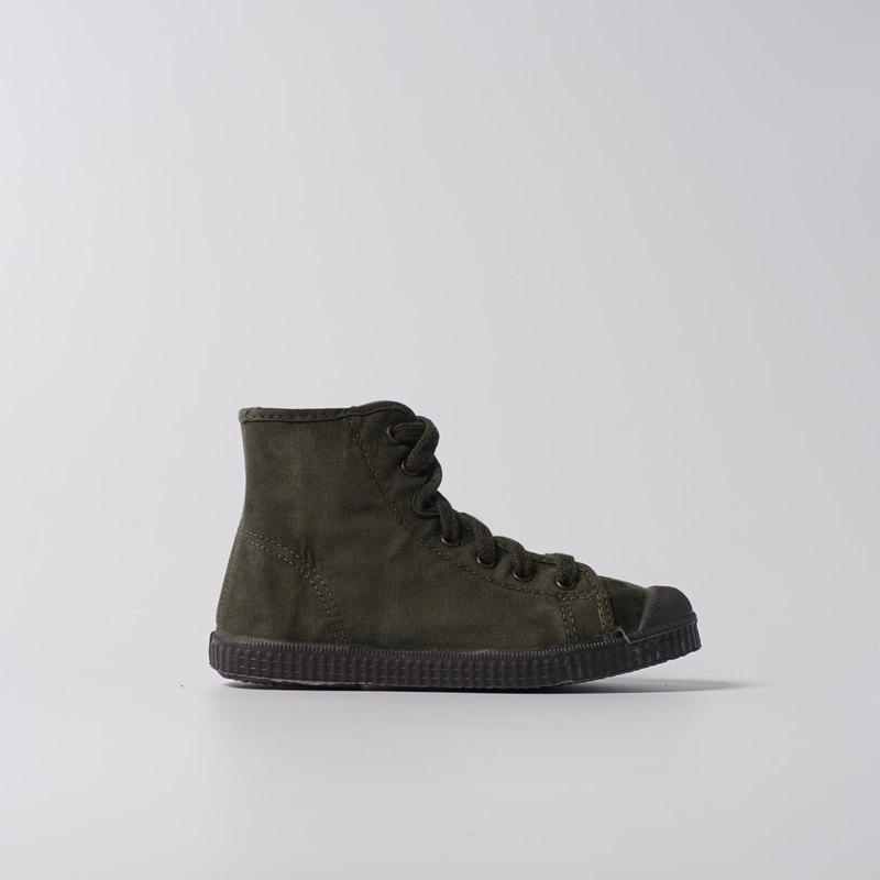 西班牙帆布鞋 CIENTA U61777 22 墨綠色 黑底 洗舊布料 童鞋 高筒