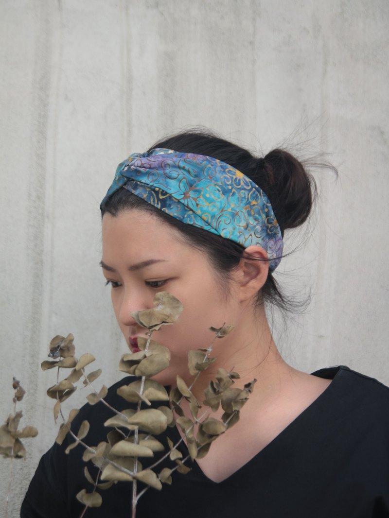 花與水 日本手工蠟染 手工十字鬆緊髮帶