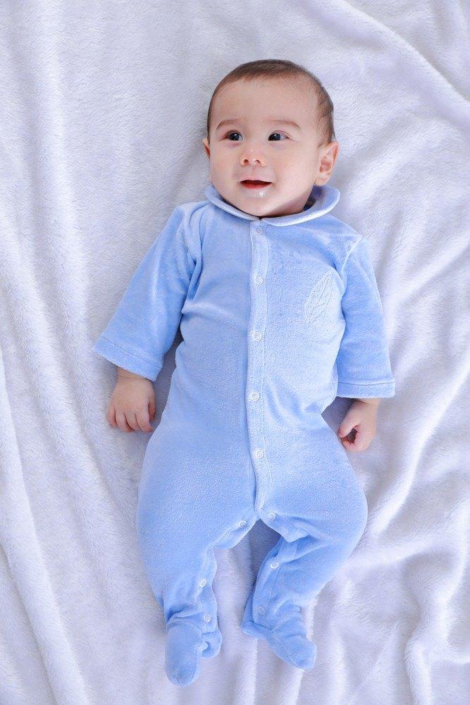 【Deux Filles 有機棉】棉絨包腳連身裝-淺藍純色