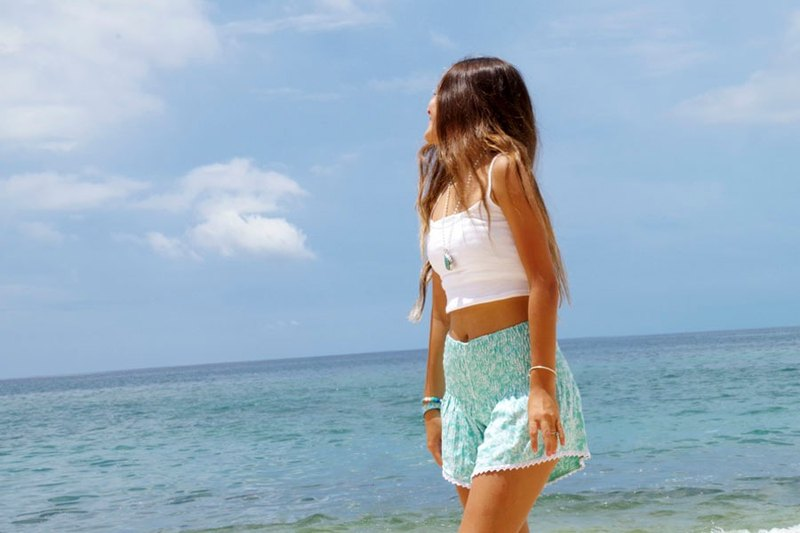 女孩夏天!珊瑚印花短褲<薄荷綠>