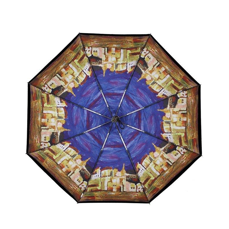 【德國kobold】抗UV零透光智能防曬-油畫系列-遮陽防曬降溫傘 -雙層三折傘-城邦