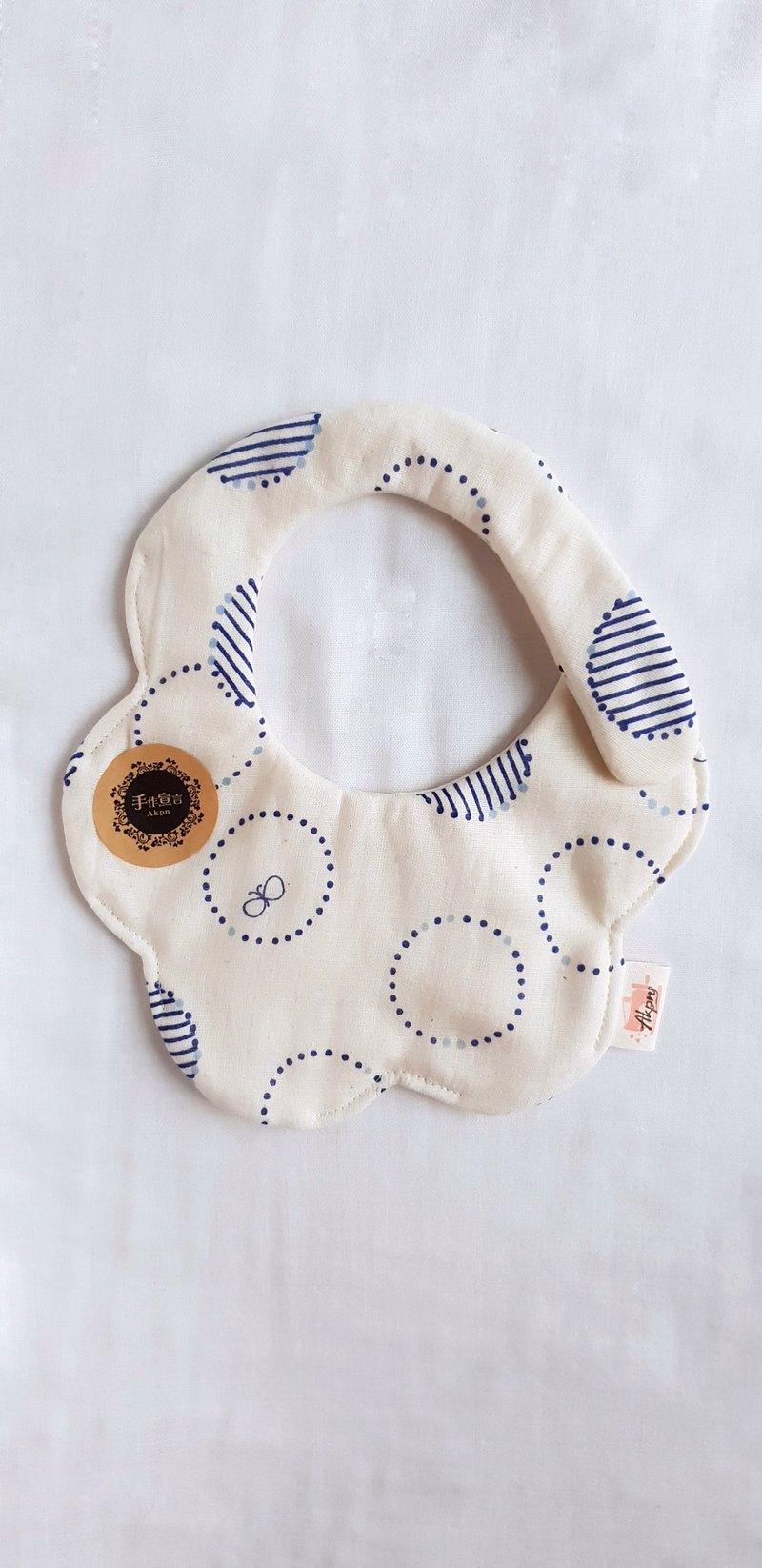 幾何線圈蝶-米色-八層紗100%cotton雙面隨性圓弧造型圍兜.口水巾
