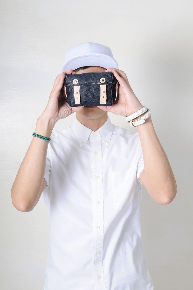 安心出貨 DENIM-手做皮革丹寧牛仔帆布盒型斜側揹/相機/收納包