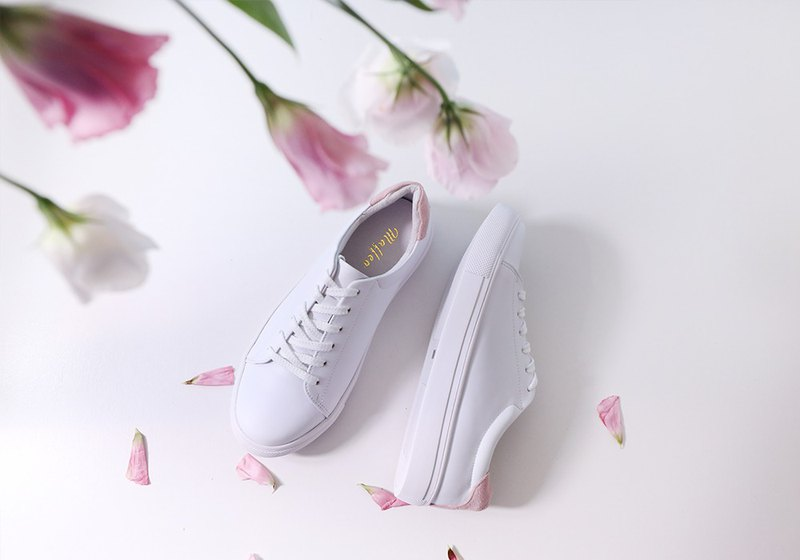 羽量級耐髒汙全真皮白鞋加大尺碼(34-44) 粉色 可客製商品