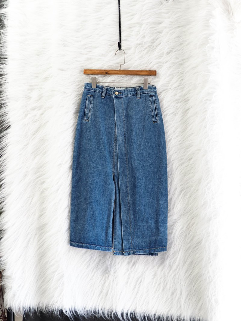 海水淺藍不對稱輕輕戀日時光 古董棉質牛仔單寧A字包裙 dress