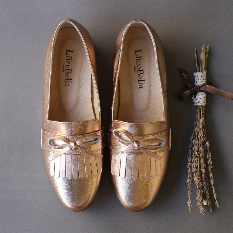 【換季特賣】-流轉的木星-流蘇樂福鞋-玫瑰金