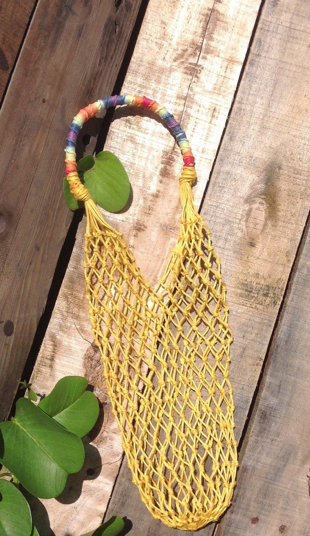 美國麻線手工編織袋/大黃色-水瓶-保溫瓶-酒瓶-手搖杯-冰壩杯