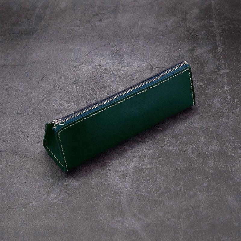 三角拉鏈筆袋 (橫式)。手縫皮革材料包。BSP093