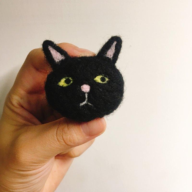 羊毛氈 手工 黑貓 別針 髮圈