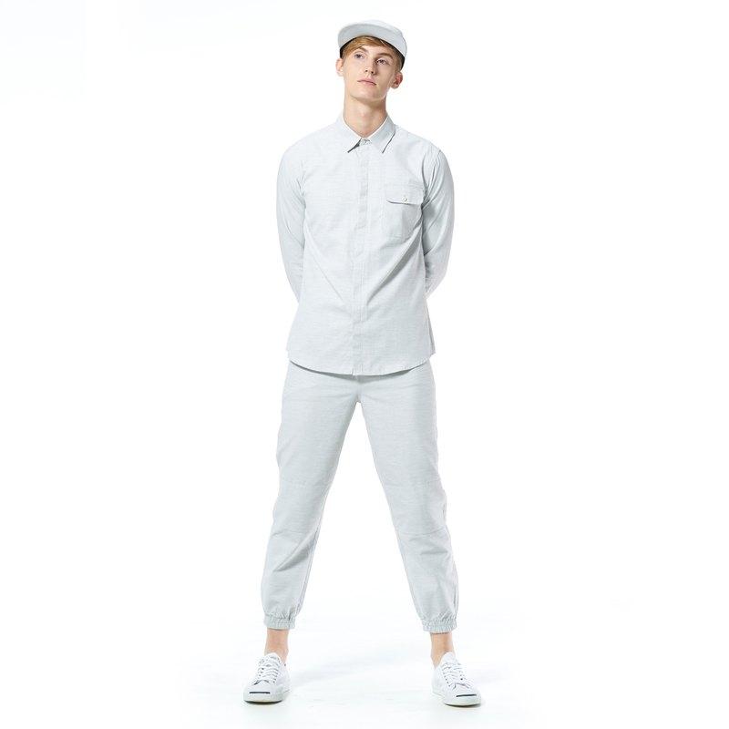 穴居人襯衫 -  Tallis淺灰色條紋