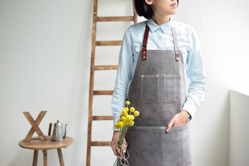 帆布皮革工作圍裙-灰色 (表面上蠟防潑水)
