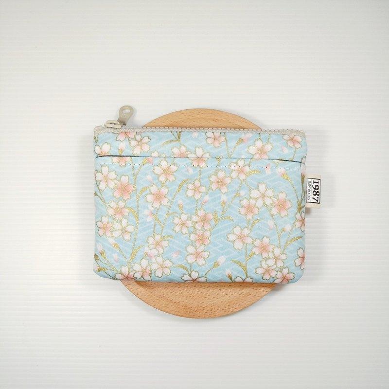 【春櫻-淺藍】 零錢包 手拿包 隨身包 拉鏈袋 聖誕交換禮物