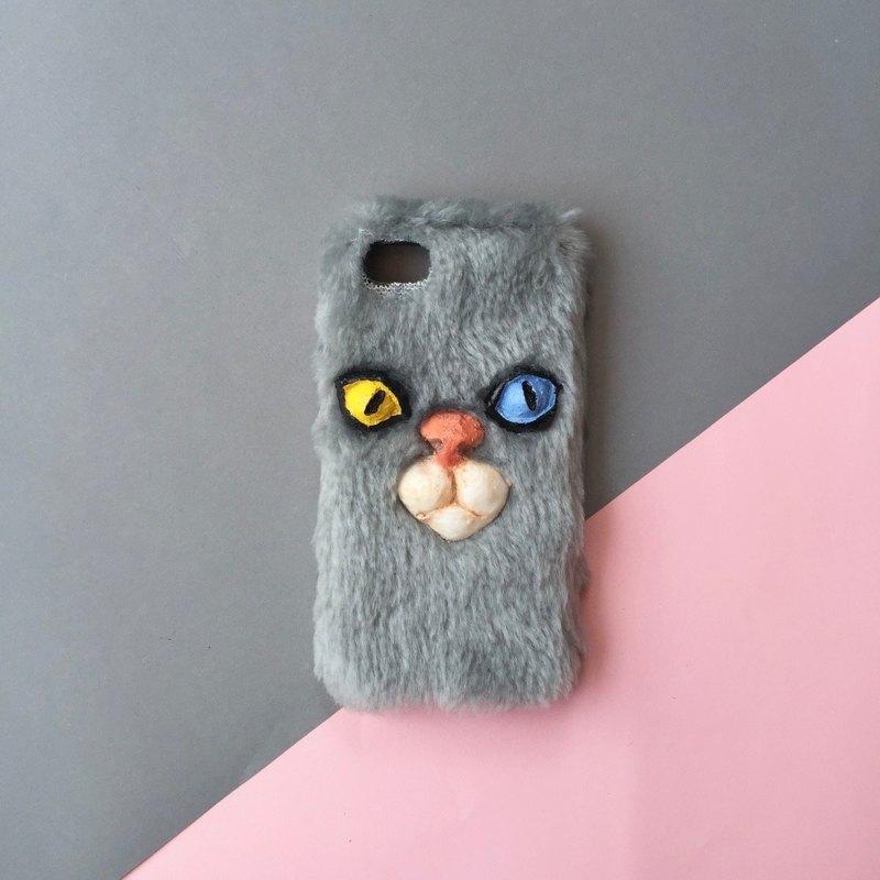 毛絨絨手機殼-灰色貓咪
