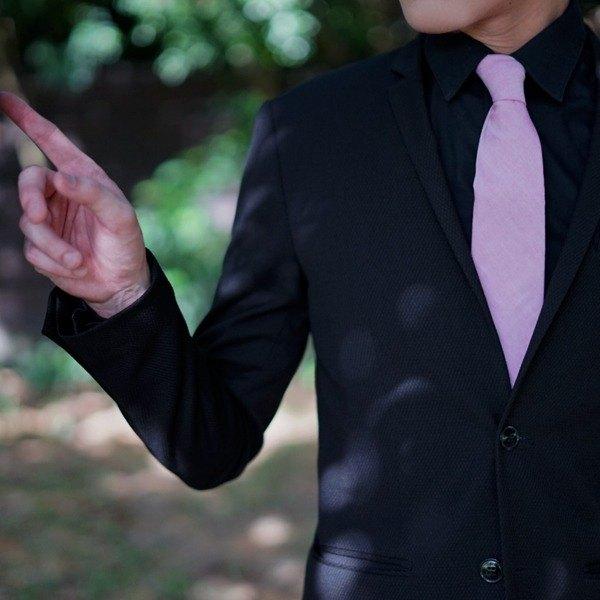 CAVEMAN領帶 - 牛津粉色領帶