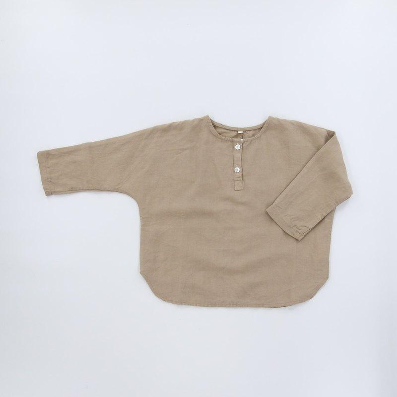 小童棉質上衣-卡其/粉