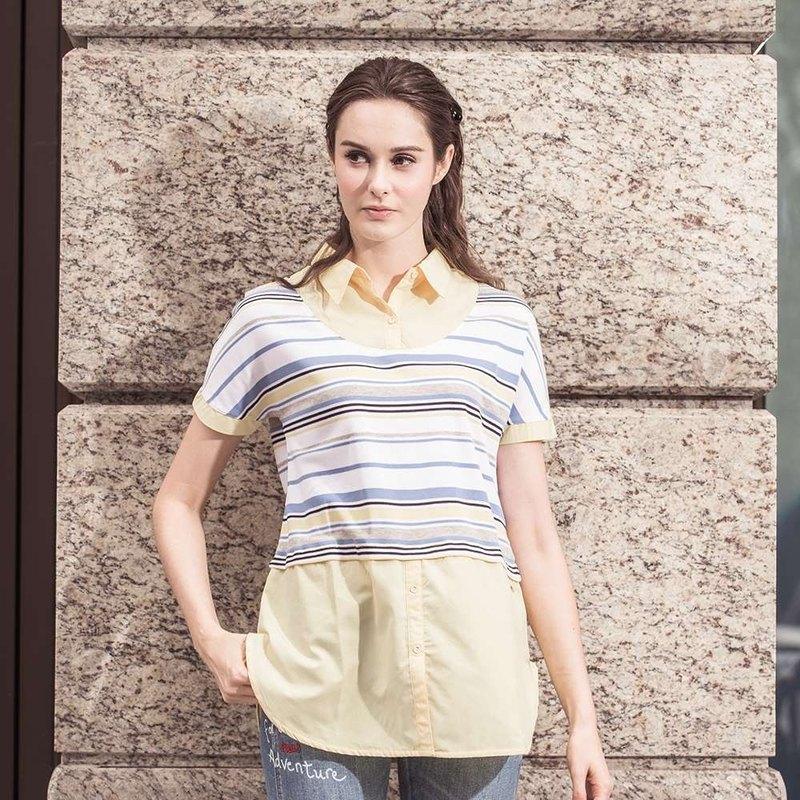 條紋拼接襯衫假兩件長版上衣