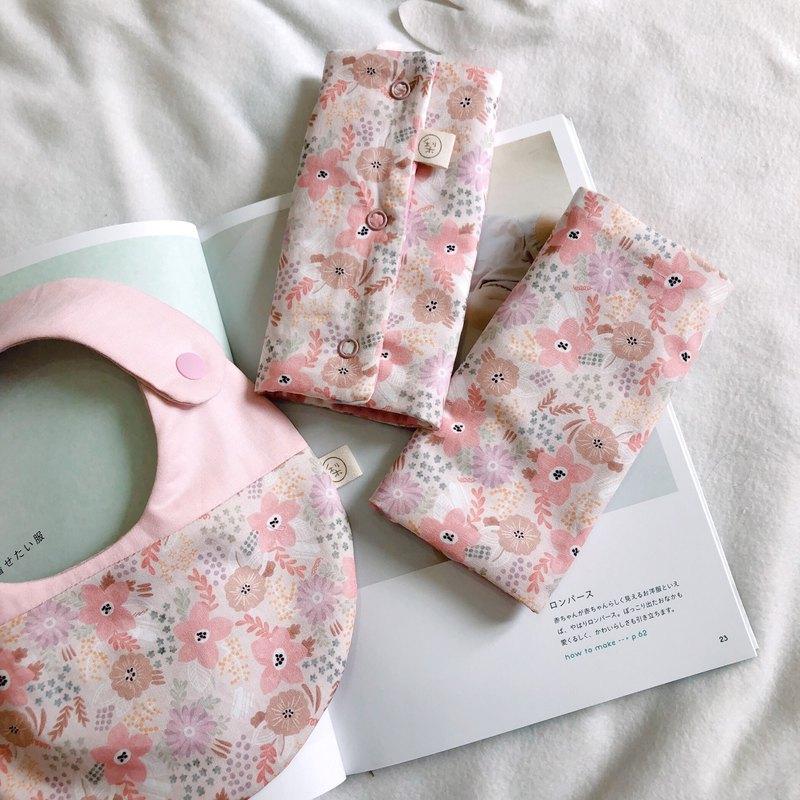 粉花錦簇 韓國製有機棉 彌月禮盒兩件組 手工圍兜+背巾用口水巾