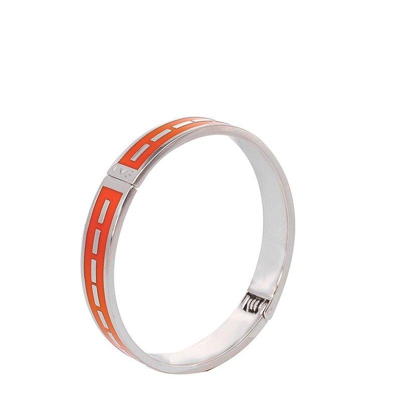 極簡主義 Agnes Martin 掐絲琺瑯系列 開口手環 (銀)-01003151249
