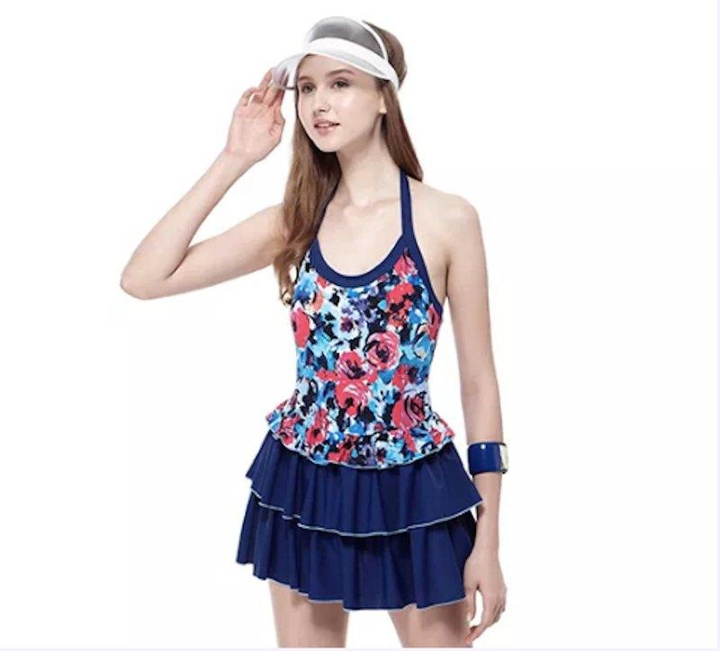 MIT 大女亮艷光澤花紋連身裙泳裝