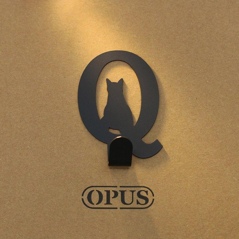 【OPUS東齊金工】當貓咪遇上字母Q - 掛勾(黑)/壁飾掛勾/傢飾掛架/生活收納/衣架/造型掛鉤/無痕/HO-ca10-Q(B)