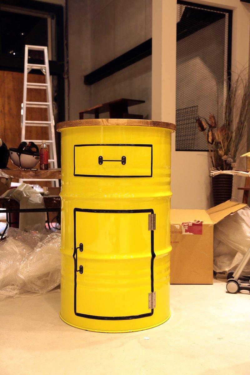 工業風_實木桌面油桶抽屜接待台**客製化顏色烤漆**