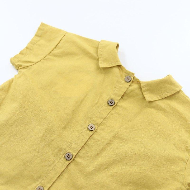 男女童棉麻衣-黃