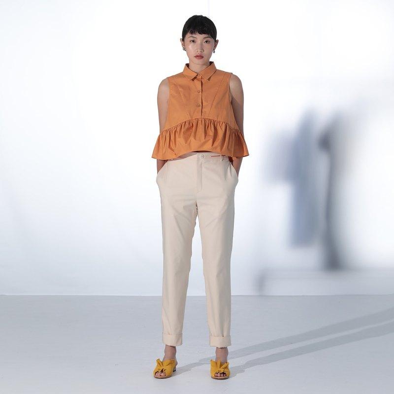 白色造型合身褲