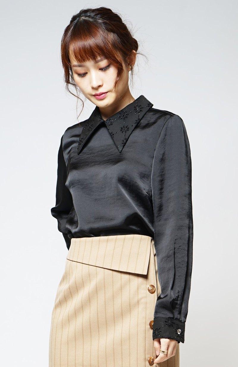 MIT 蕾絲刺繡領襯衫(R6063A)