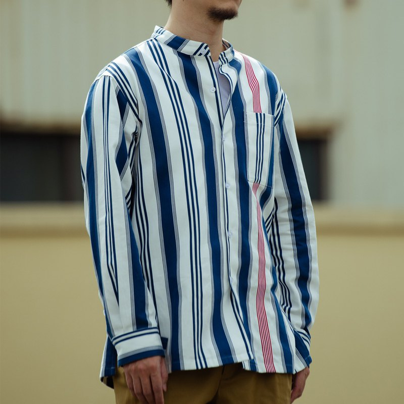 藍白直條紋立領牛津襯衫