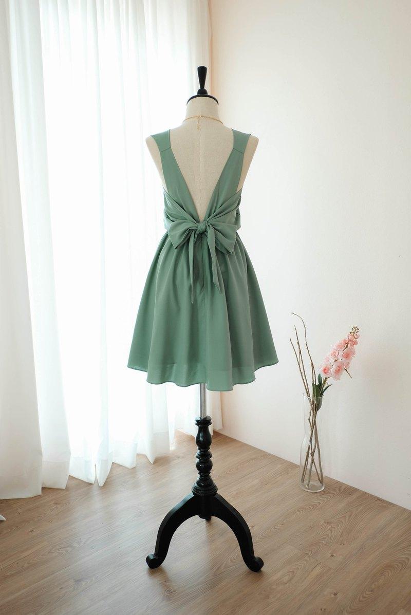 土氣俄羅斯綠色禮服伴娘禮服露背派對雞尾酒短裙