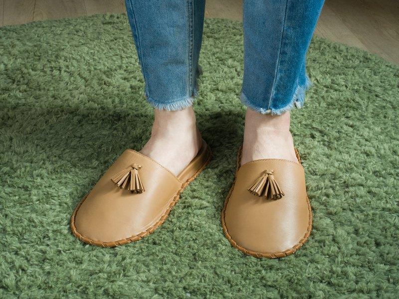 防疫宅在家區/羊皮編織室內拖鞋  真皮 COZY皮革拖鞋 透氣.
