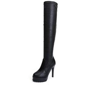 [XYJP] ピンヒール 11cmヒール ロング ブーツ レディース ロングブーツ ポインテッドトゥ ルーズブーツ ストレッチブーツ ブラック カジュアル ハイヒール 痛くない 歩きやすい 大きいサイズ 23.5cm 幅広 秋 冬 靴 楽チン ニーハイブーツ