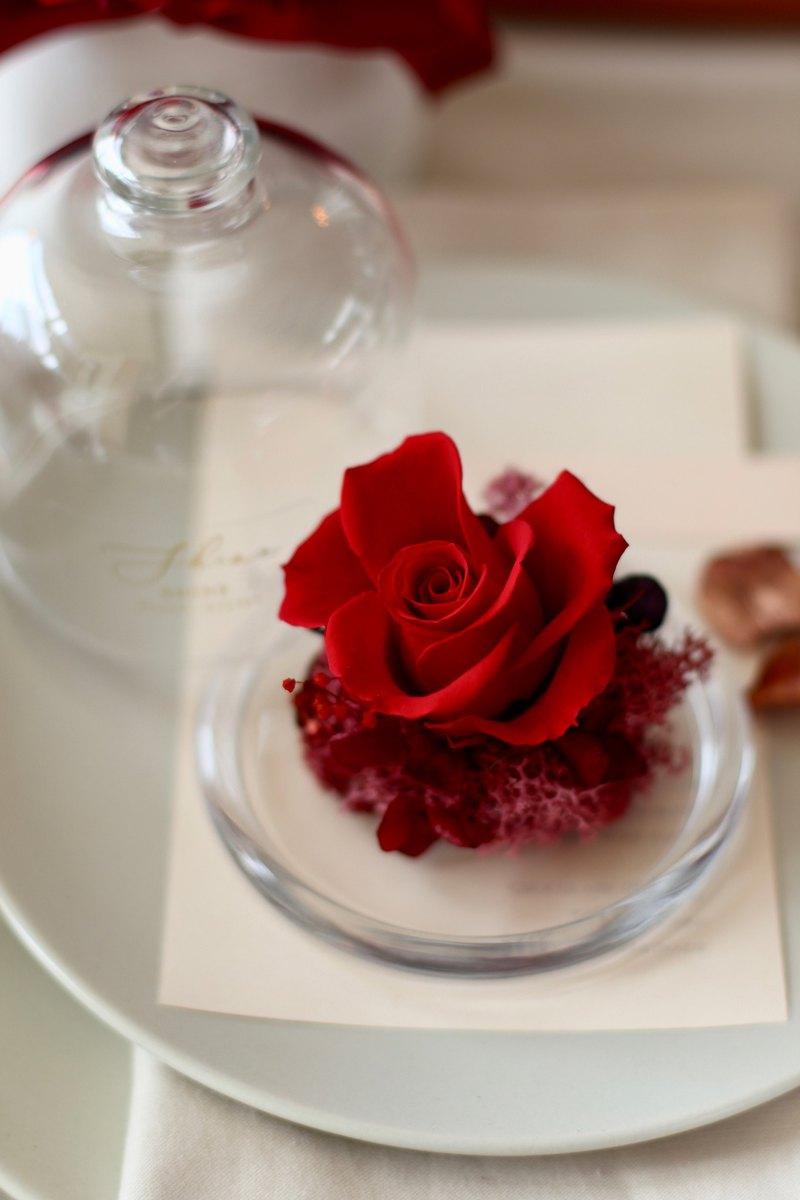 紅不凋花玫瑰玻璃盅罩
