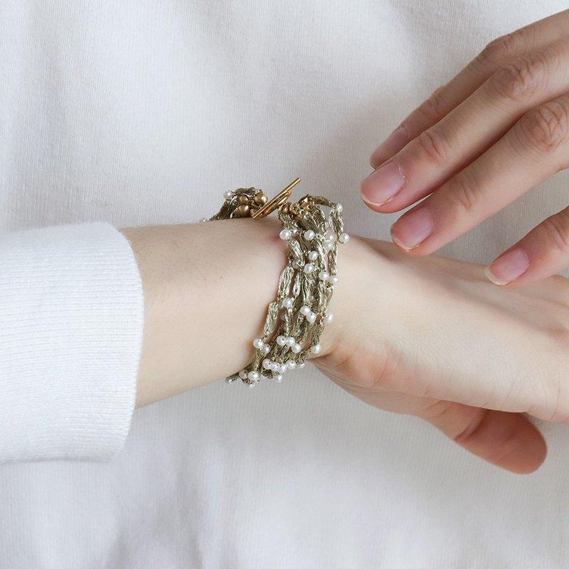 穗系列 手工鉤織14K包金 14KGF淡水珍珠手環 誇張 新娘造型