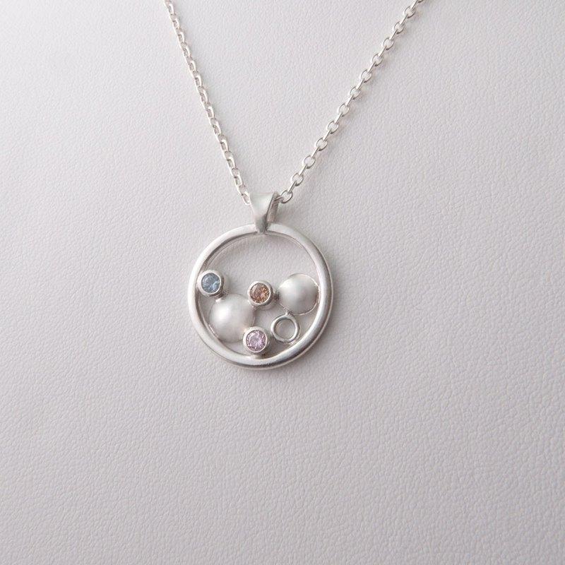 閃亮的泡泡 - 純銀幾何圖形鋯石項鍊