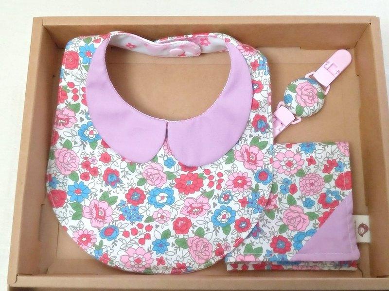 粉芋小花領巾款 兜+ 手帕+手帕夾(3件組)彌月禮 滿月禮