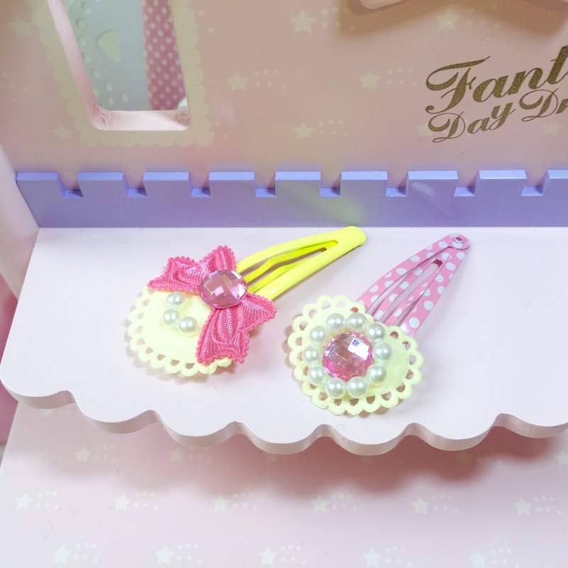 粉紅公主系髮夾 (2件1組) ~蝴蝶結/愛心寶石 (黃色)