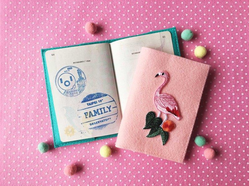 夏季,火烈鳥,仙人掌熨斗貼片護照封面