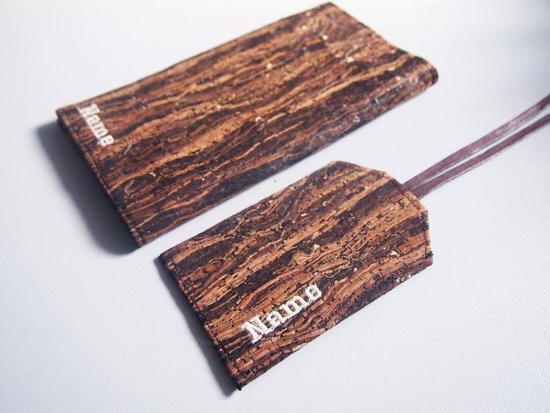 Paralife 客製自己名字的 木紋軟木 護照夾+行李吊牌 護照套/護照本 + 行李牌 量身訂造 美好旅行 旅程 Passport Cover Luggage Tag