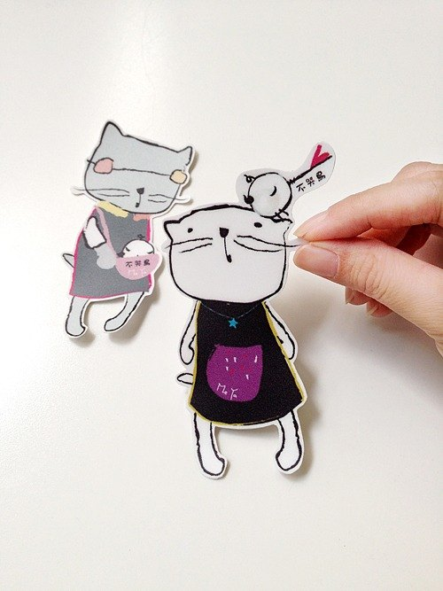 愛鳥的貓咪。防水貼紙