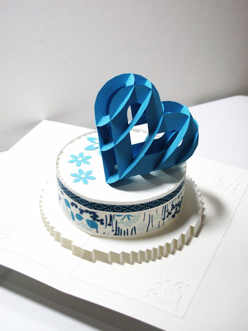 立體紙雕情人卡-紙雕之心Cake-藍