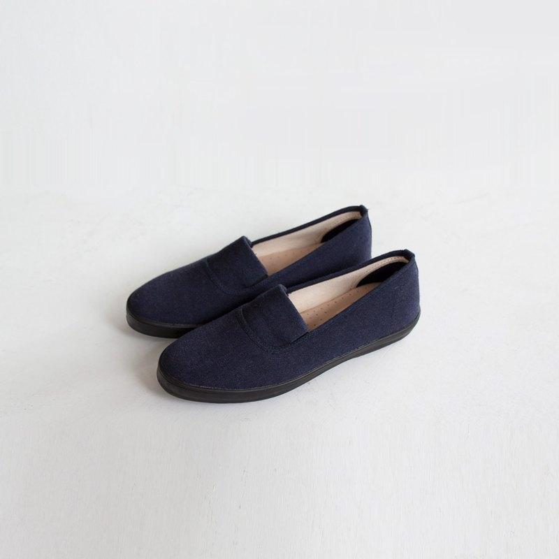 寵愛媽媽禮物   素色百搭.大人女子日.蝶尾藍.水洗棉麻.帆布鞋