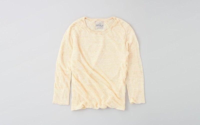 麻針織女裝/M 長袖套頭衫(奶油色)