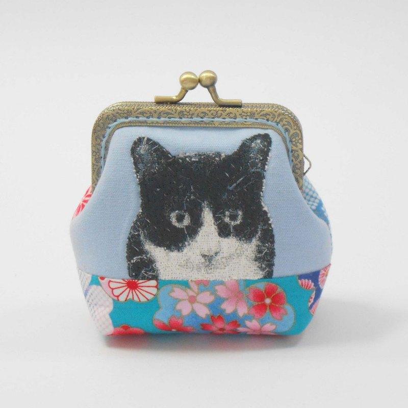 刺繡 8.5cm口金零錢包46-黑白貓