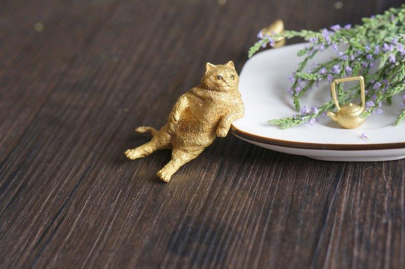 手工黃銅橘貓君擺件鎮紙