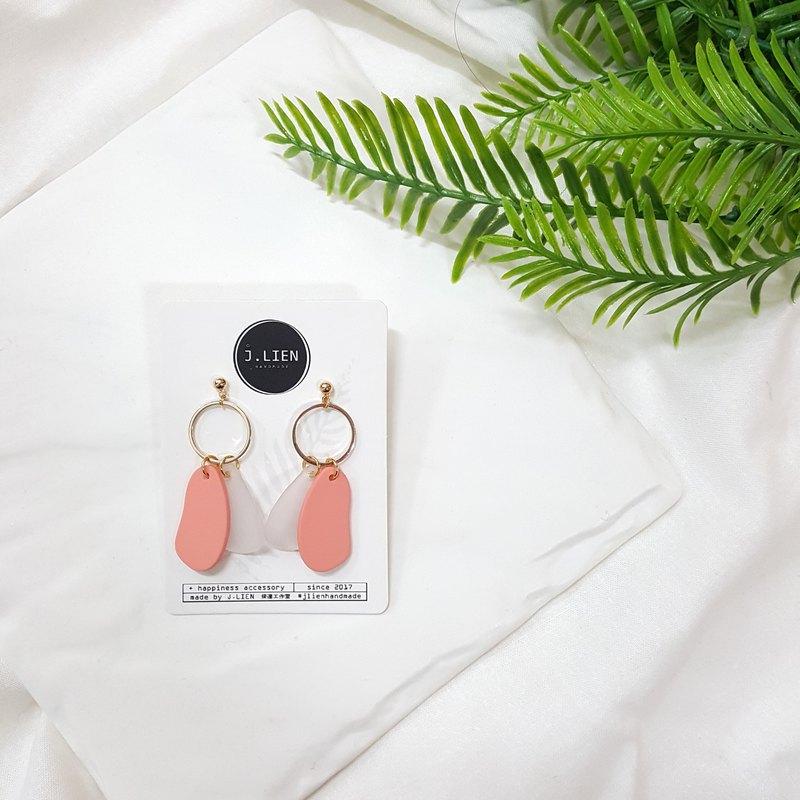 色塊方程式- 桃子粉 耳針/耳夾 手工耳環 韓國直送