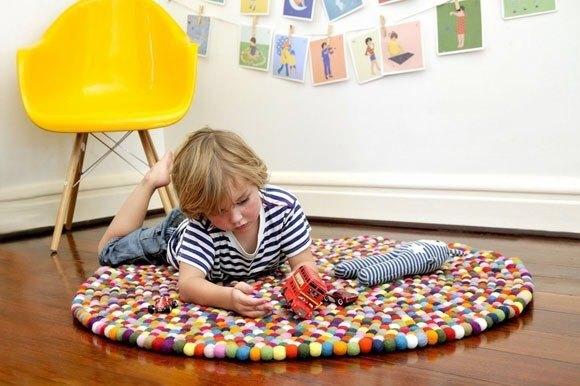 『咩咩屋』羊毛氈 彩色 球球毯 (直徑120公分)