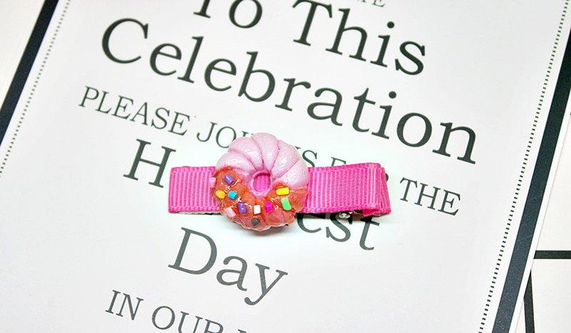 <仿真黏土髮飾> => 草莓巧克力甜甜圈-髮夾系列-#可愛